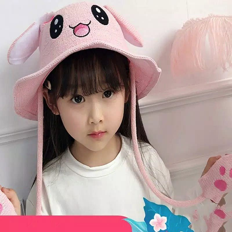 BN376-089,HAT BUNNY RAJUT MOVING EAR