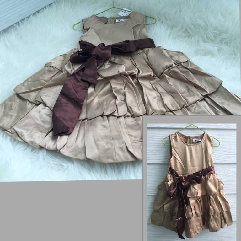 KD 1046-090, DRESS PARTY SOFT SATIN RIMPLE gold