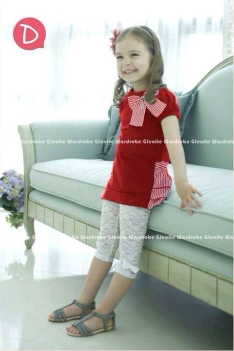GW57D TOP RIBBON DADA RED + LEGGING SELUTUT RIBBON WHITE