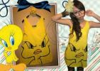 CTMO006 TANK TOP STRIPPE TWEETY YELLOW