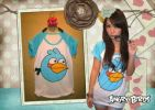 CT114 ANGRY BIRD TEE WHITE-BLUE MOM