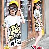 APR007-078,DRESS CARTOON WHITE YELLOW