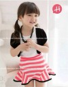 GW57H-50, TOP ROMPI BLACK + SKIRT STRIPPED RED