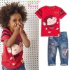 SL038-052,TOP RED + JEANS PANT  SIZE 2-7TH