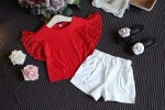 SCJN025-56 TOP RED + PANTS WHITE  SIZE: 7 - 15 (3 - 8 THN)